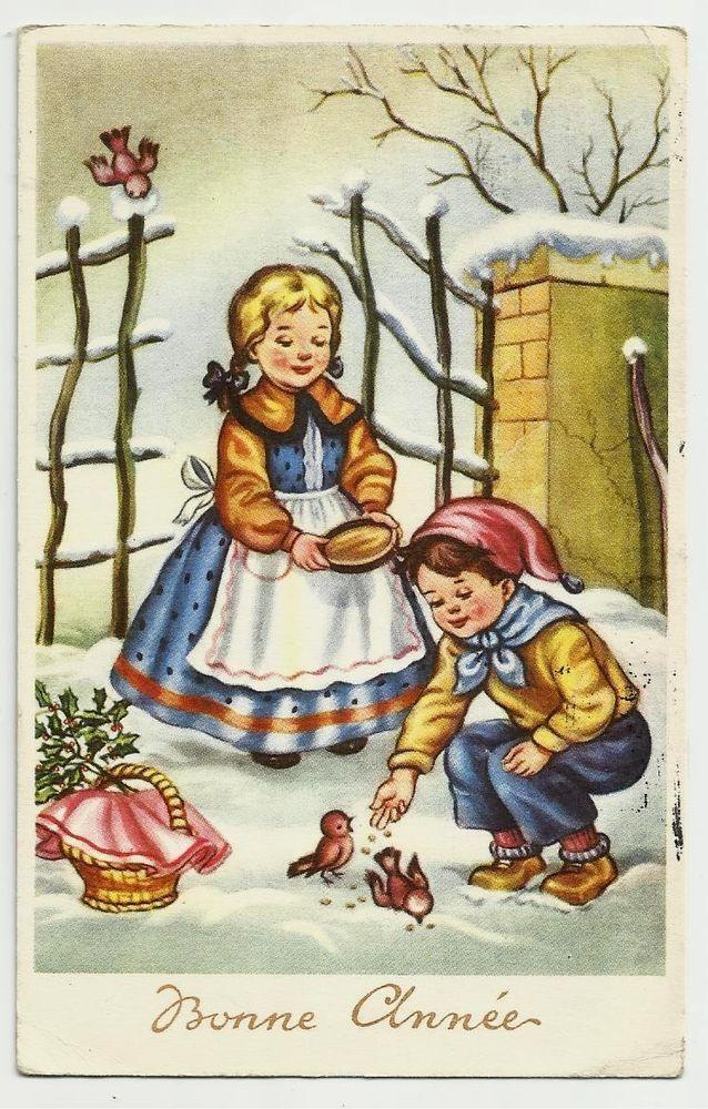 Kinder füttern Vögel, 50er | Vögel füttern | Pinterest | Vogel, 50er ...