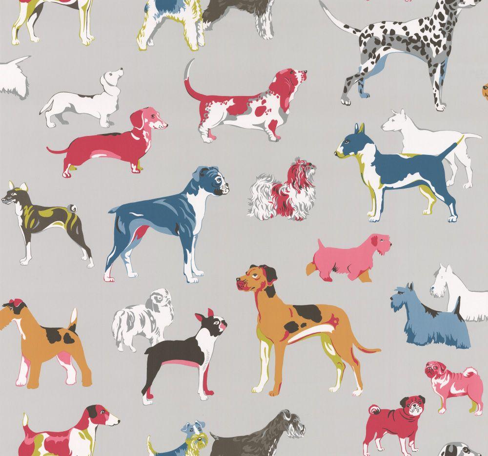 Hot Dogs By Jane Churchill Grey Wallpaper J145w 04