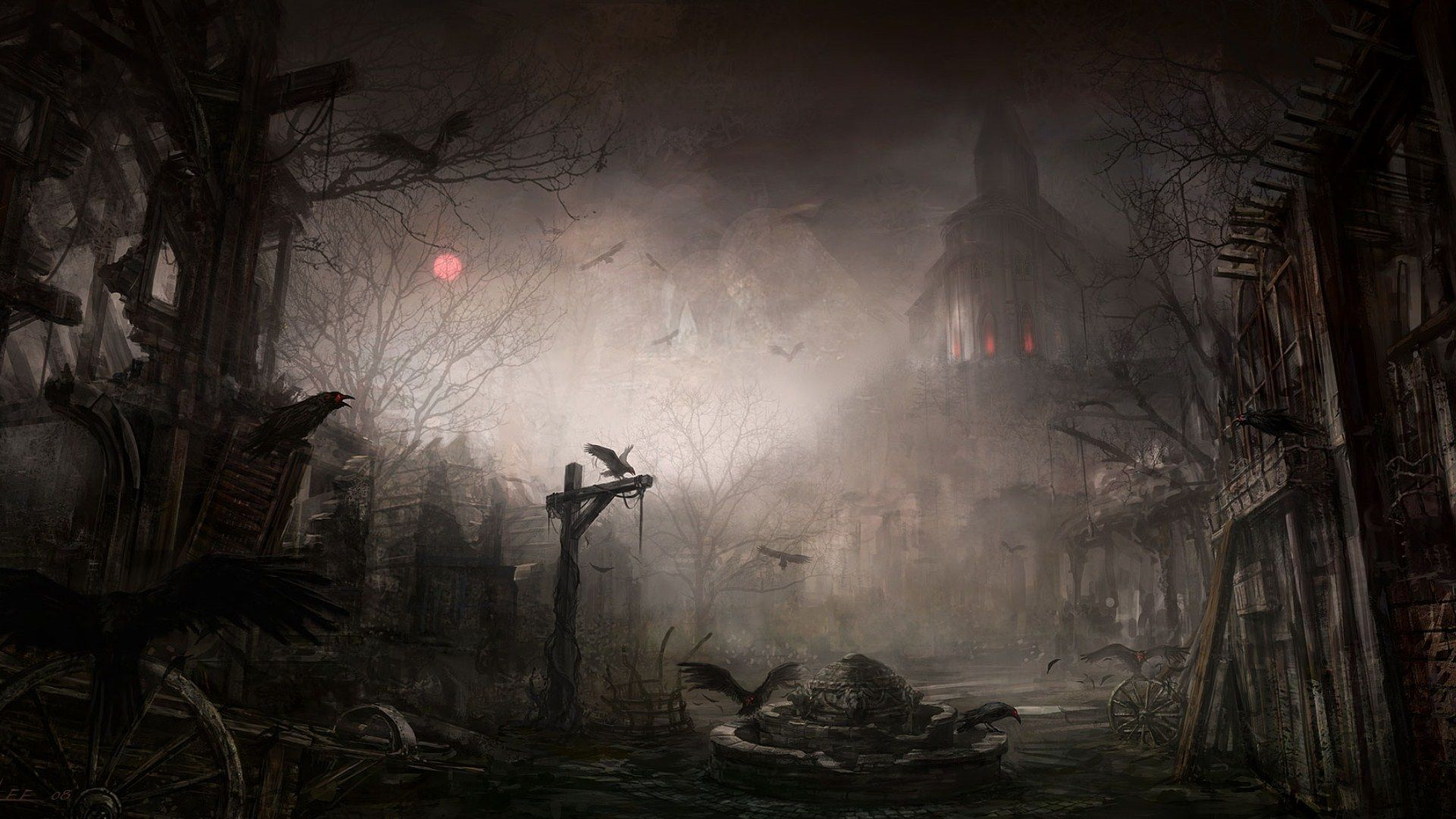 Download Creepy Landscape Wallpaper 1080p For Iphone Pc Desktop Android Or Mac Desktop Hd Gothic Wallpaper Fantasy City Scary Backgrounds