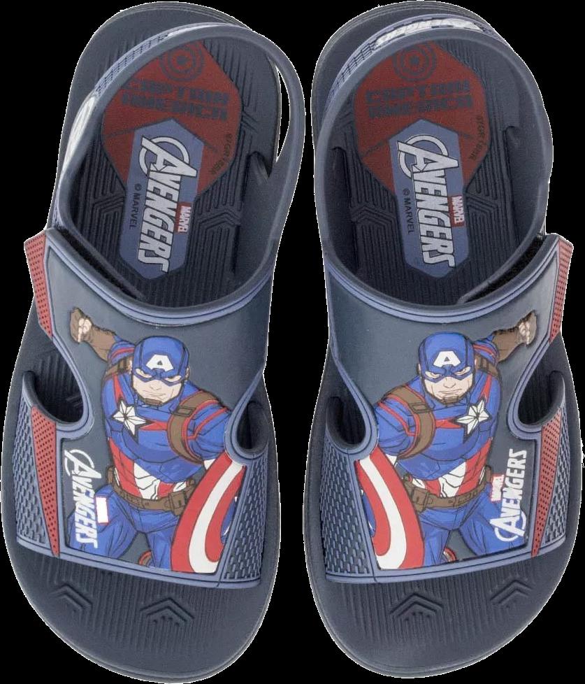 cab681c9d6 A Sandália Infantil Avengers Hero Pack Capitão América + Brinde é  confeccionada em material sintético