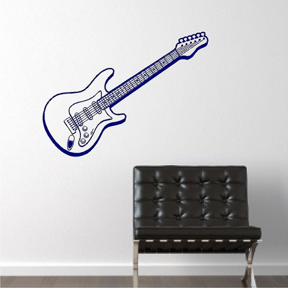 Electric Guitar Decal Removable Guitar Wall Sticker Etsy Vinyl Wall Art Decals Wall Decor Stickers Decal Wall Art