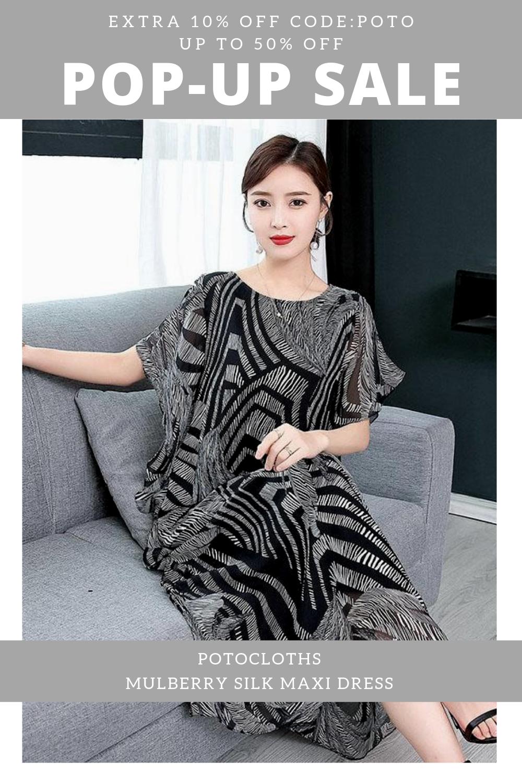 Seals Promotion Extra 10 Off Code Poto Cool Suit Fashion Leisure Dress Loose Elegant Potocloths Silk Maxi Dress Maxi Dress Mulberry Silk [ 1500 x 1000 Pixel ]