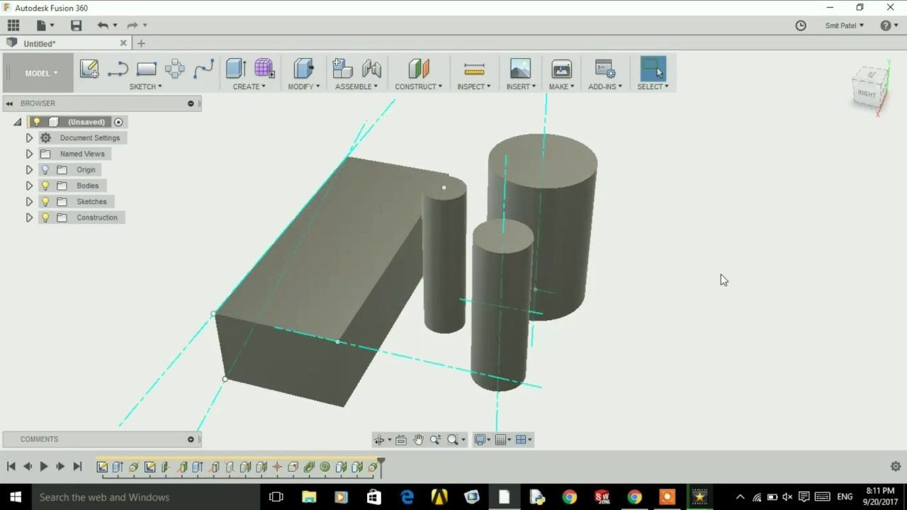 Auto desk Fusion 360 Create axis (Tutorial-7) | 2017 CAD