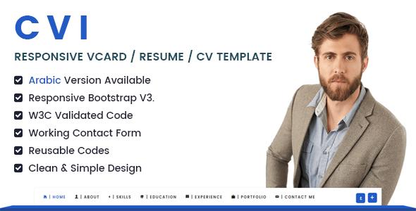 Cvi  Responsive Vcard  Resume  Cv Template  Hello  Web Design