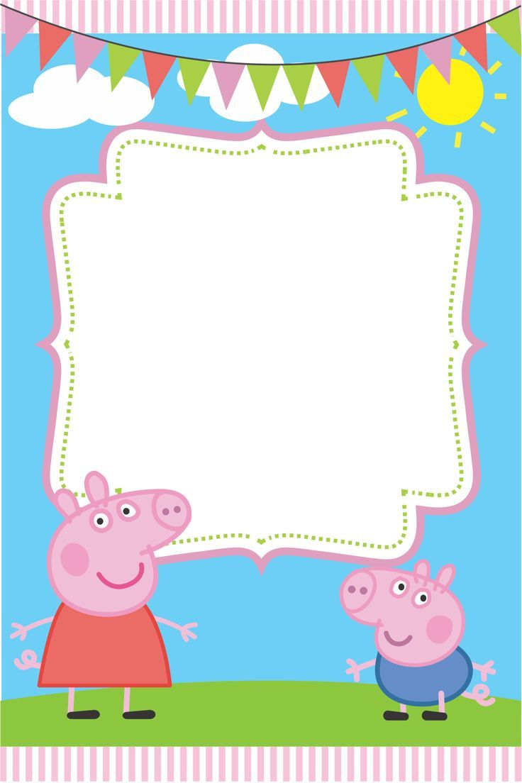 Peppa Pig Invite Card All I Did Was Added Image To Paint Downloaded The Font And Made My Own