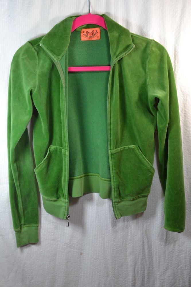 #JuicyCouture #Sweater S Women #Green #FullZip Long Sleeve #Velvet #Velour #Felt FOR #AUCTION IN MY EBAY STORE