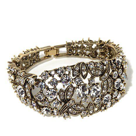 "Heidi Daus ""Fantasy in Flight"" Tapered Crystal-Accented Semi-Bangle Link Bracelet at HSN.com"