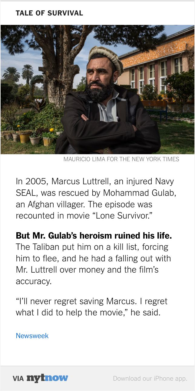 Via NYT Now: Why Mohammad Gulab, the savior of Navy SEAL ...