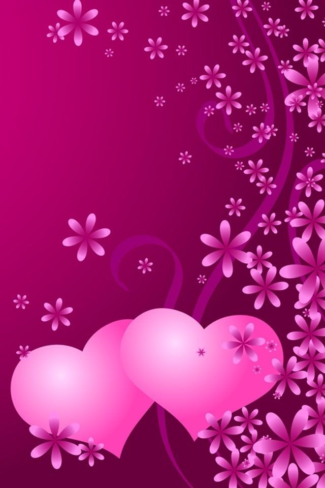 Iphone wallpaper background pink hearts and flowers - Pink roses and hearts wallpaper ...