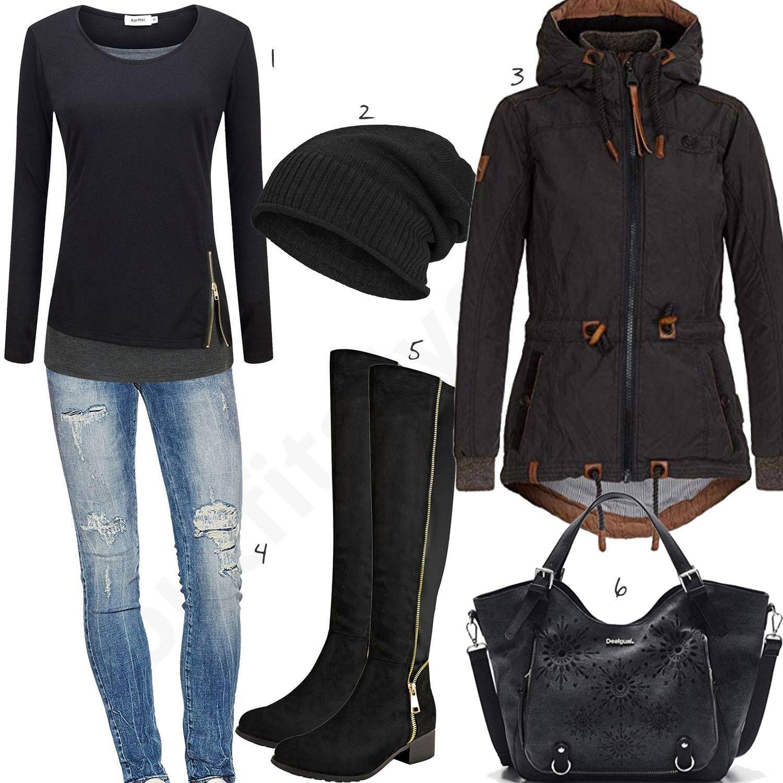 Schwarzes Damenoutfit mit Pullover, Jacke und Stiefeln