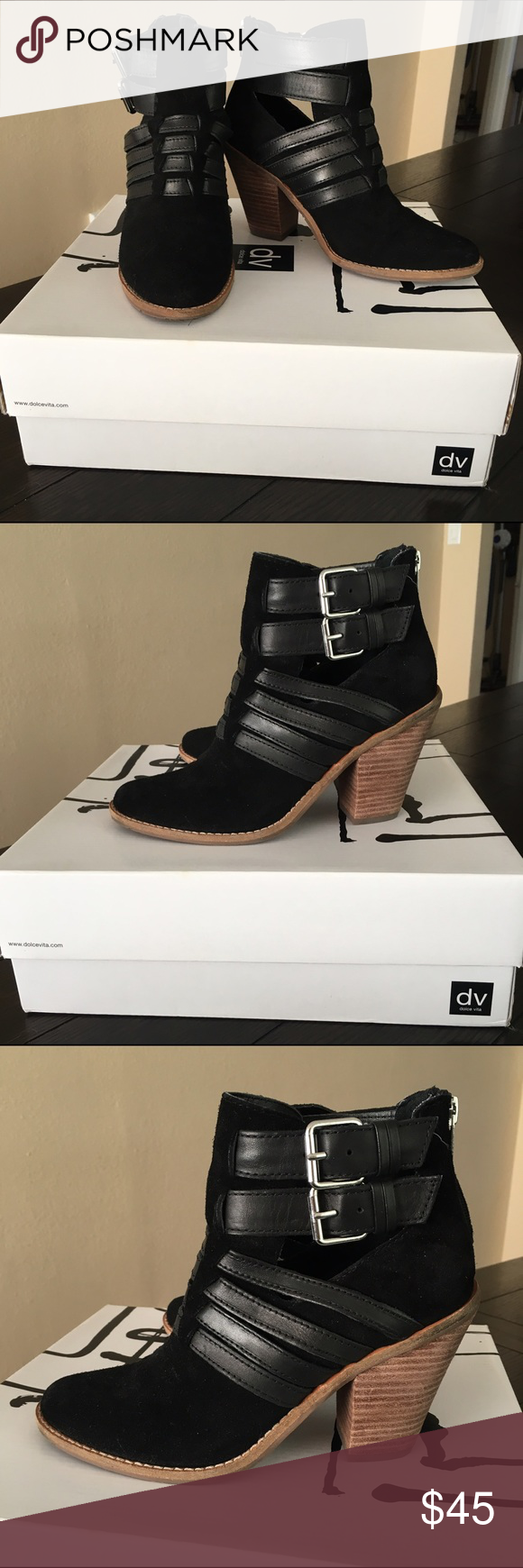 """DV by Dolce Vita Caitlyn Black Suede Ankle Boots Slightly worn, comes with original box. Anthropologie exclusive, worn 3 time but sadly the shoes is too narrow for my wife feet. decibel with pricing. Back Zip Leather Upper synthetic insole. 3.5"""" synthetic heel. No trade DV by Dolce Vita Shoes Ankle Boots & Booties"""