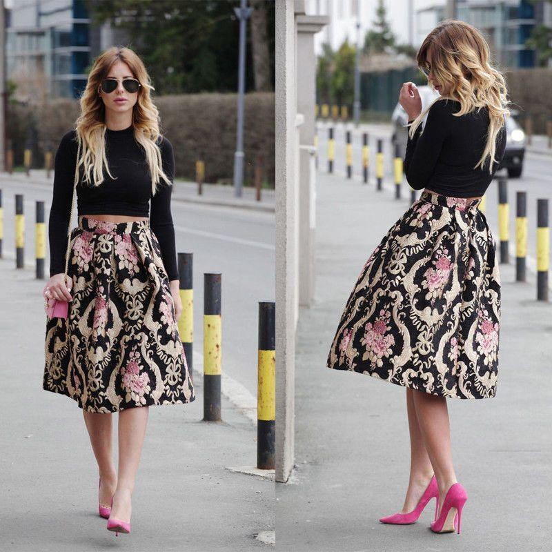 New Women Flared Knee Length Skater Skirt Ladies Stretch Midi Office Work  Skirt. Fashion Women Retro Floral High Waist Printing Party A-Line Midi  Skater ... 45f8c0479