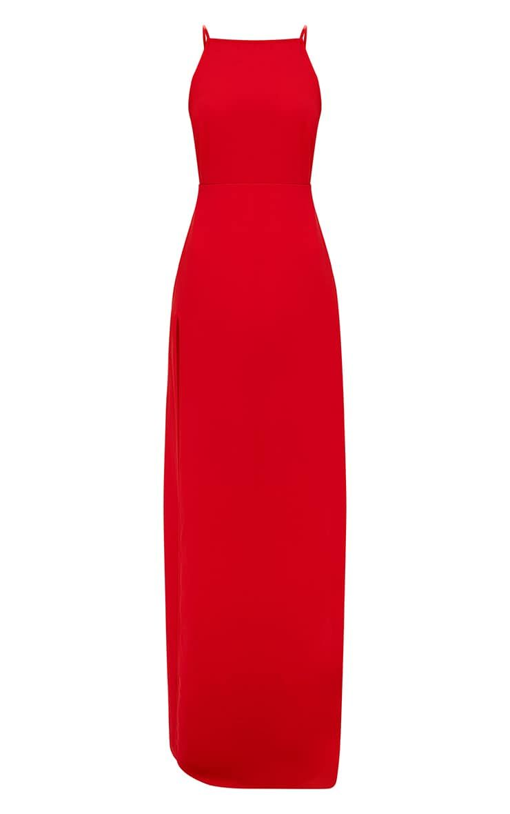 Red Strappy Back Detail Chiffon Maxi Dress Red Dress Maxi Dresses Fashion Dresses