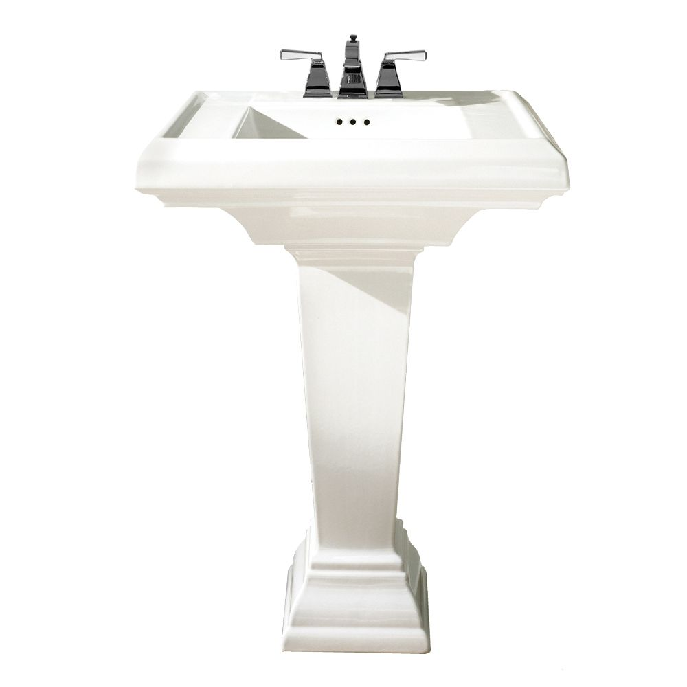 Classic Two Piece Toilet And Square Pedestal Sink By American