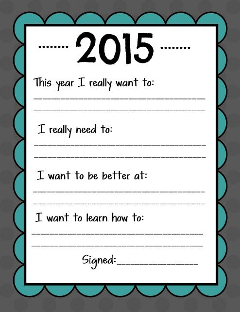 Kid Friendly New Year S Resolution Printable Nye Resolutions