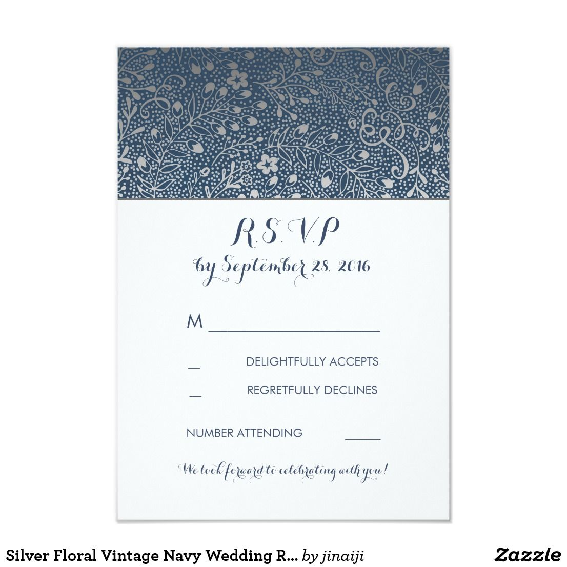 Silver Floral Vintage Navy Wedding RSVP Cards | Vintage Wedding ...