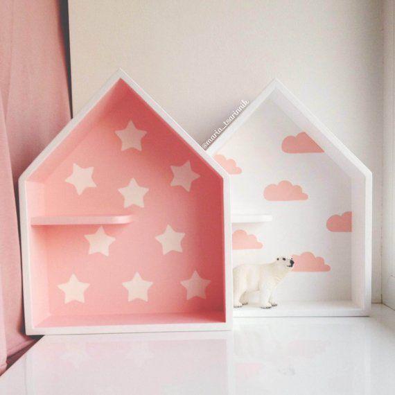 Set 2 House Shaped Shelf Wooden House Shelf Kids Shelf House Shadow Box With Images Wooden Wall Decor House Shelves Kids Shelves