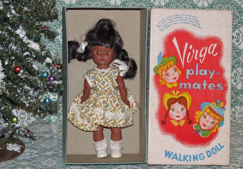 RARE 1950s BLACK Virga play-mates Doll Mint in Box and NRFB!!  #DollswithClothingAccessories