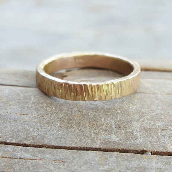 3mm Wide 14k Wood Grain Wedding Band For Men Or By Brightsmith 37500