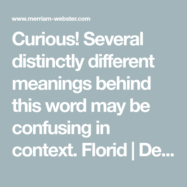 Definition Of FLORID