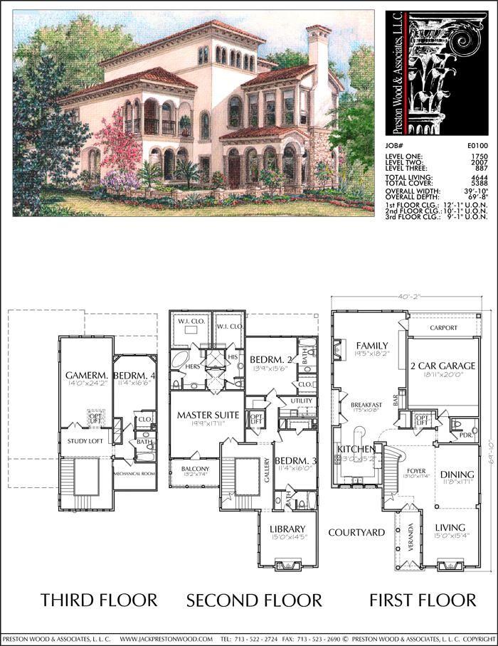 2 1 2 Story Urban House Plan E0100