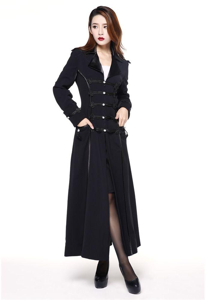 8d6ad135c42f Manteau long gothique style militaire noir Manteau gothique