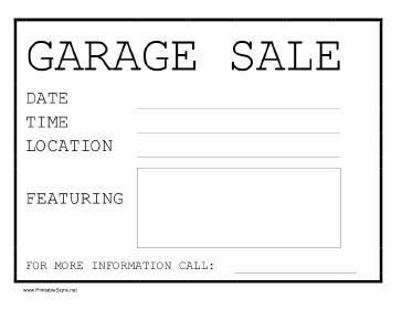 free garage sale sign