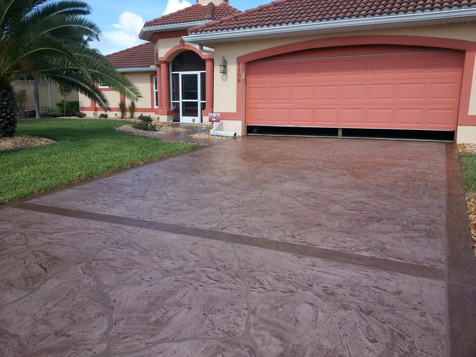 Decorative Concrete Driveway In Cape Coral The Base Color Was