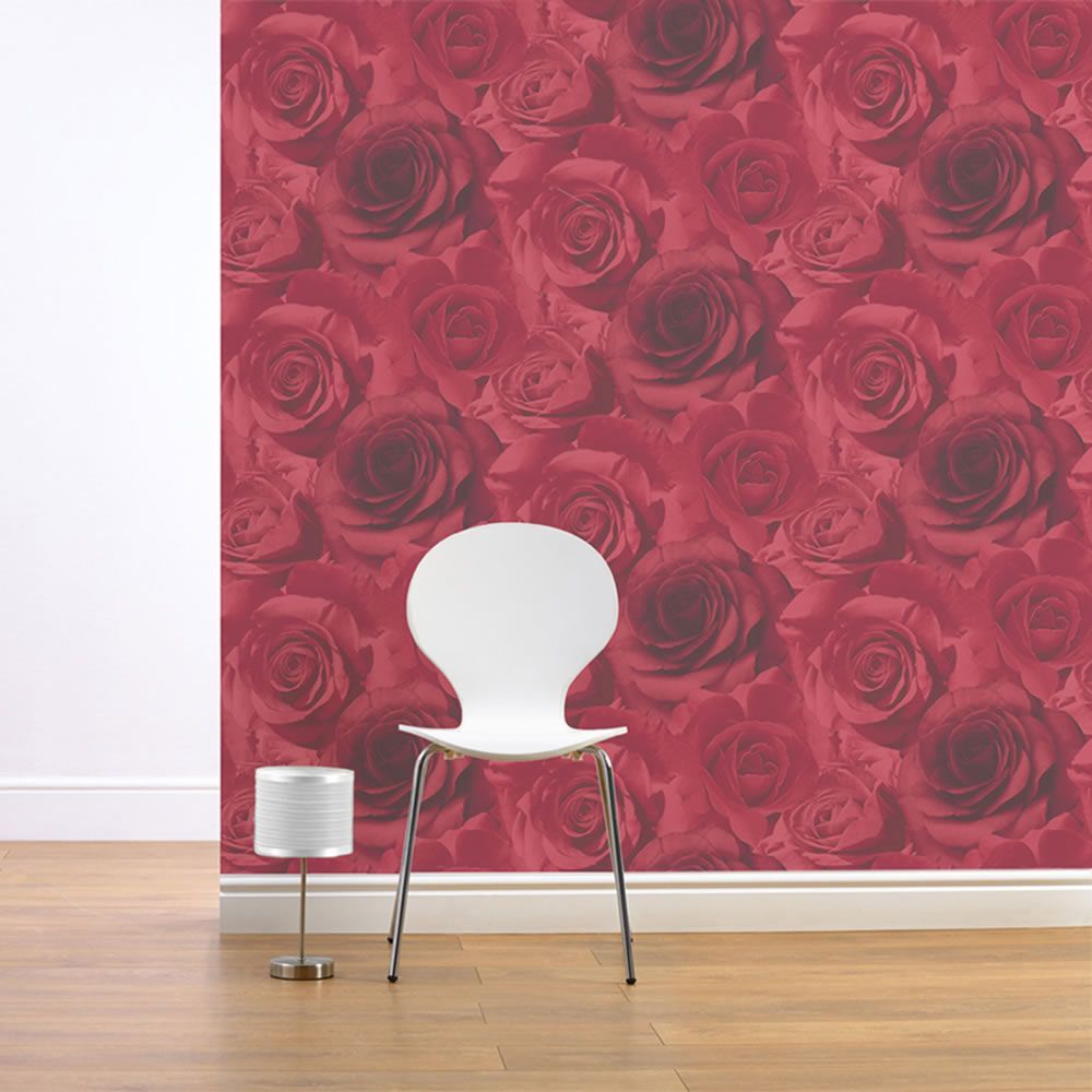 vibrant design modern floral wallpaper. Madison Rose Floral Wallpaper  Red 119502 This stunning gives a modern Muriva 11950 wallpapers
