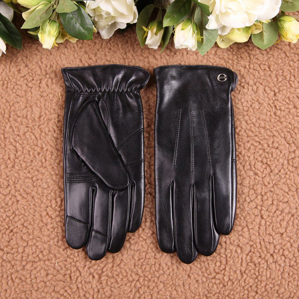 Driving gloves winter - Luxury Men S Touchscreen Texting Winter Italian Nappa Leather Dress Driving Gloves Cashmere Or Wool Lining