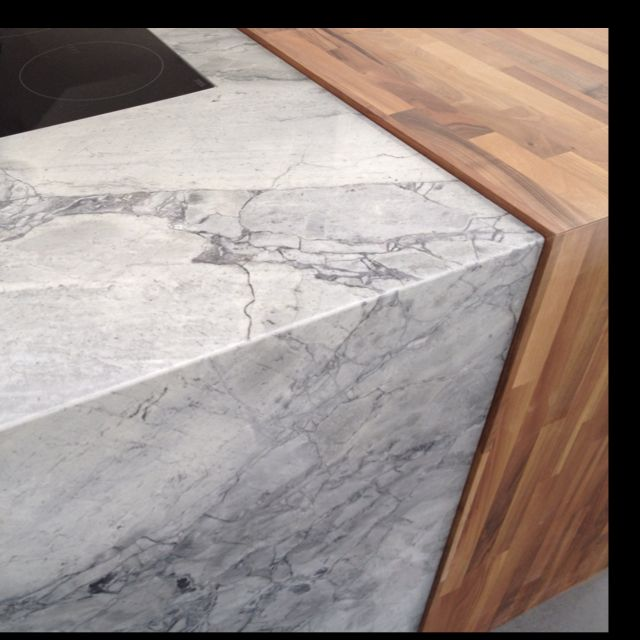Kitchen Marble Worktops: Mitred Bianco Eclipsia Marble Worktop And End Panel, Combined With Solid Walnut Bar Top