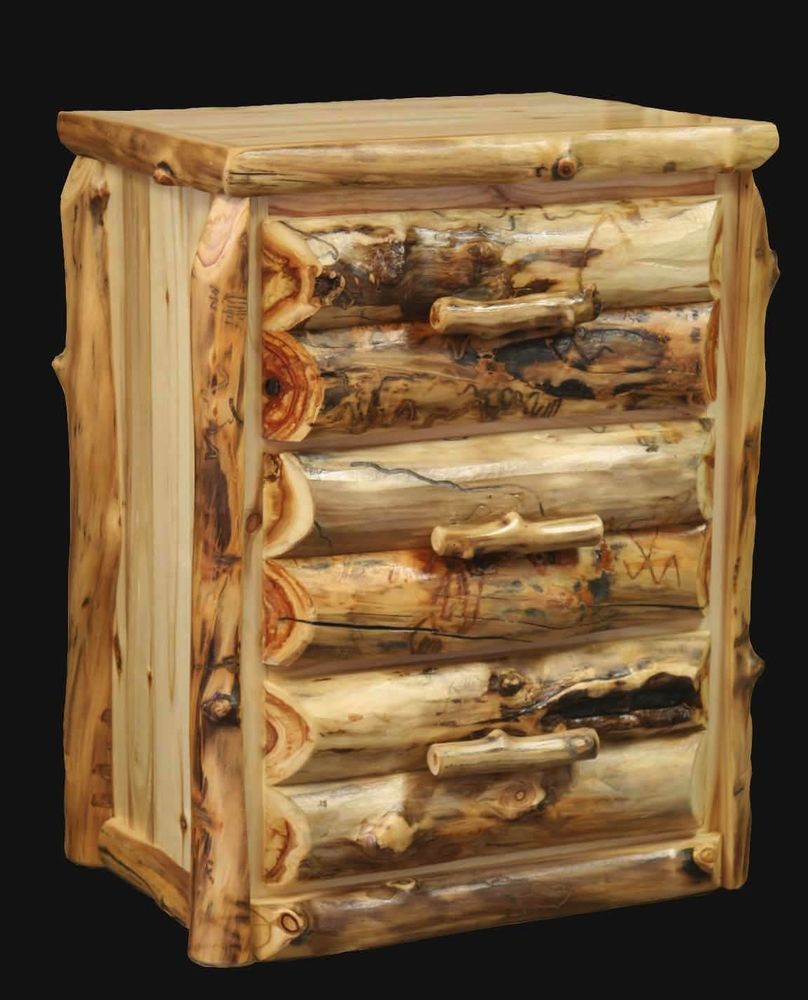 Details About 3 Drawer Log Nightstand Country Western Rustic Cabin Bedroom Furniture Decor I