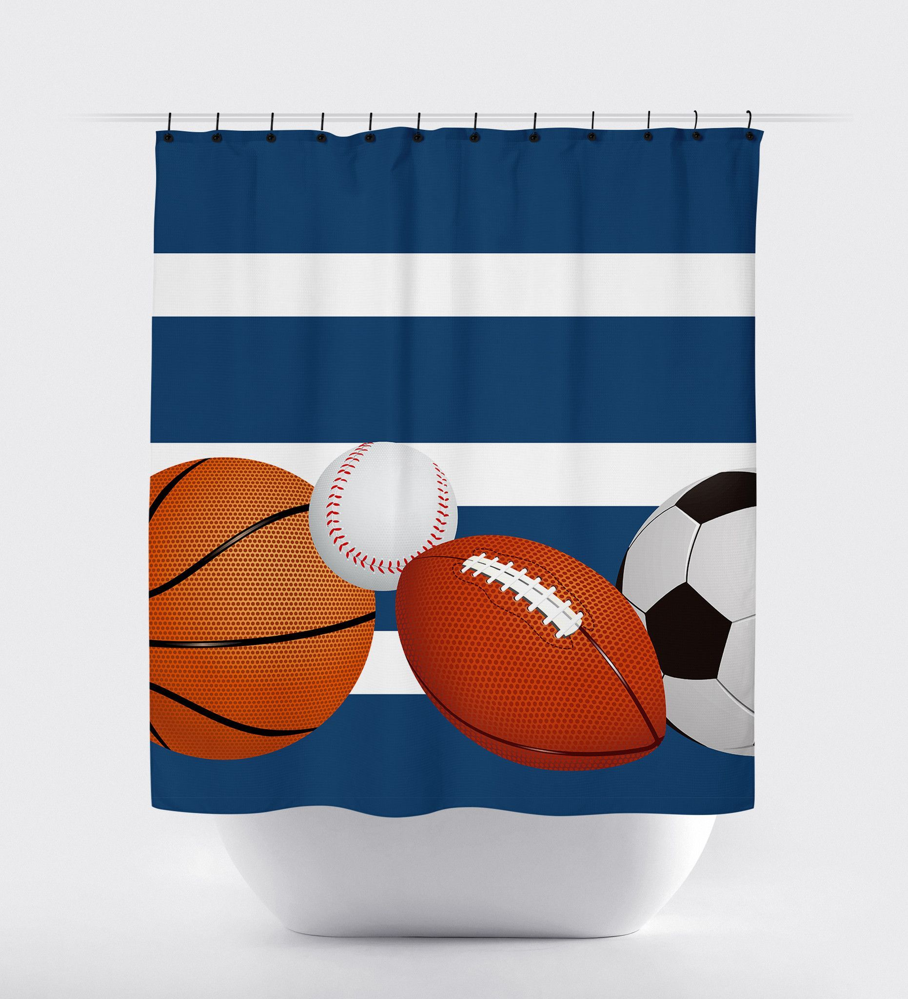 Blue Striped Sports Shower Curtain