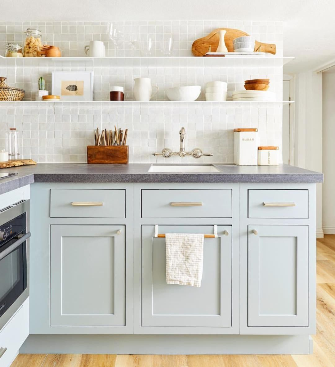 Looking For A Way To Add Color To Your White Kitchen A Light Blue Shade Can Make Your Home Feel W In 2020 Kitchen Cabinet Trends Kitchen Cabinet Colors Kitchen Design