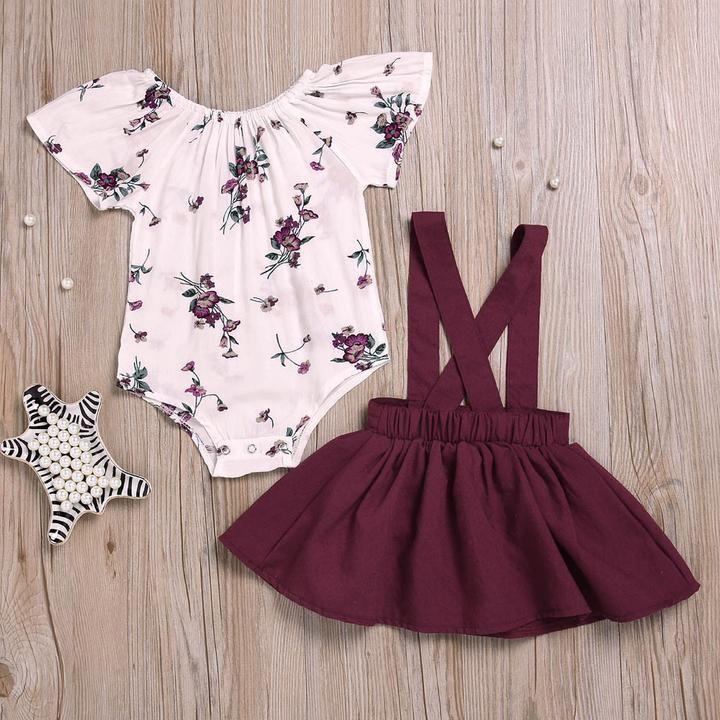 9d6c6cf0ddc8 2Pcs Baby Girls Floral Print Strap Skirt Set