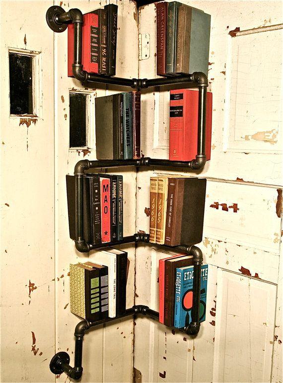 Bookshelf Industrial Pipe Corner Shelf By Stella Bleu Design