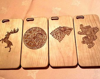 game of thrones wood phone case houses baratheon