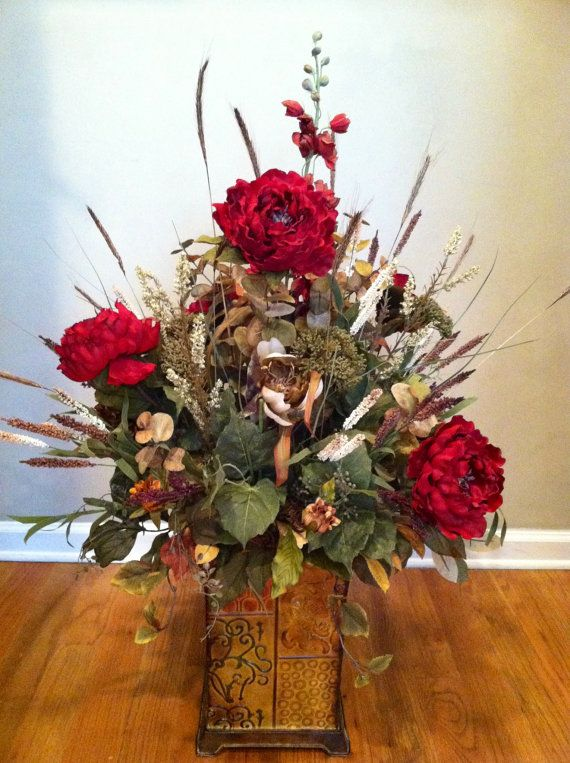 Extra Large Luxury Fall Autumn Fl Arrangement Silk Flowers Traditional Elegant Old World Italian Tuscan Decor Foyer On Etsy 175 00