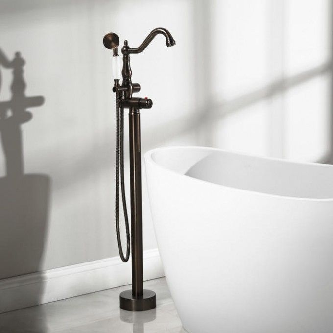 Keswick Freestanding Thermostatic Tub Faucet and Hand Shower  Fillers Faucets