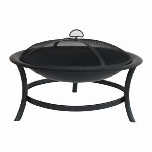Hampton Bay 30 In Brookland Black Firepit Ft 1062c The Home Depot Fire Pit Furniture Outdoor Fire Pit Fire Pit Backyard