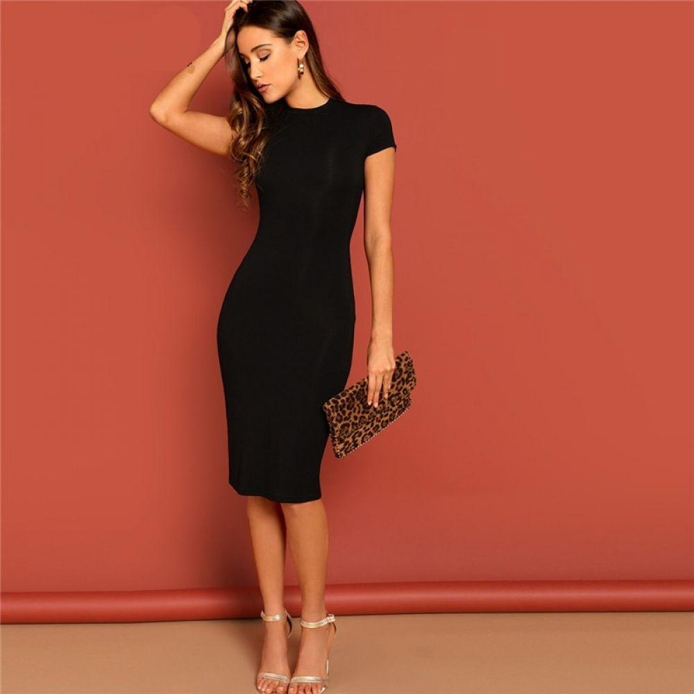 Black Strappy Straight Neck Bodycon Dress Tight Fitted Dresses Tight Black Dress Bodycon Dress [ 1180 x 740 Pixel ]