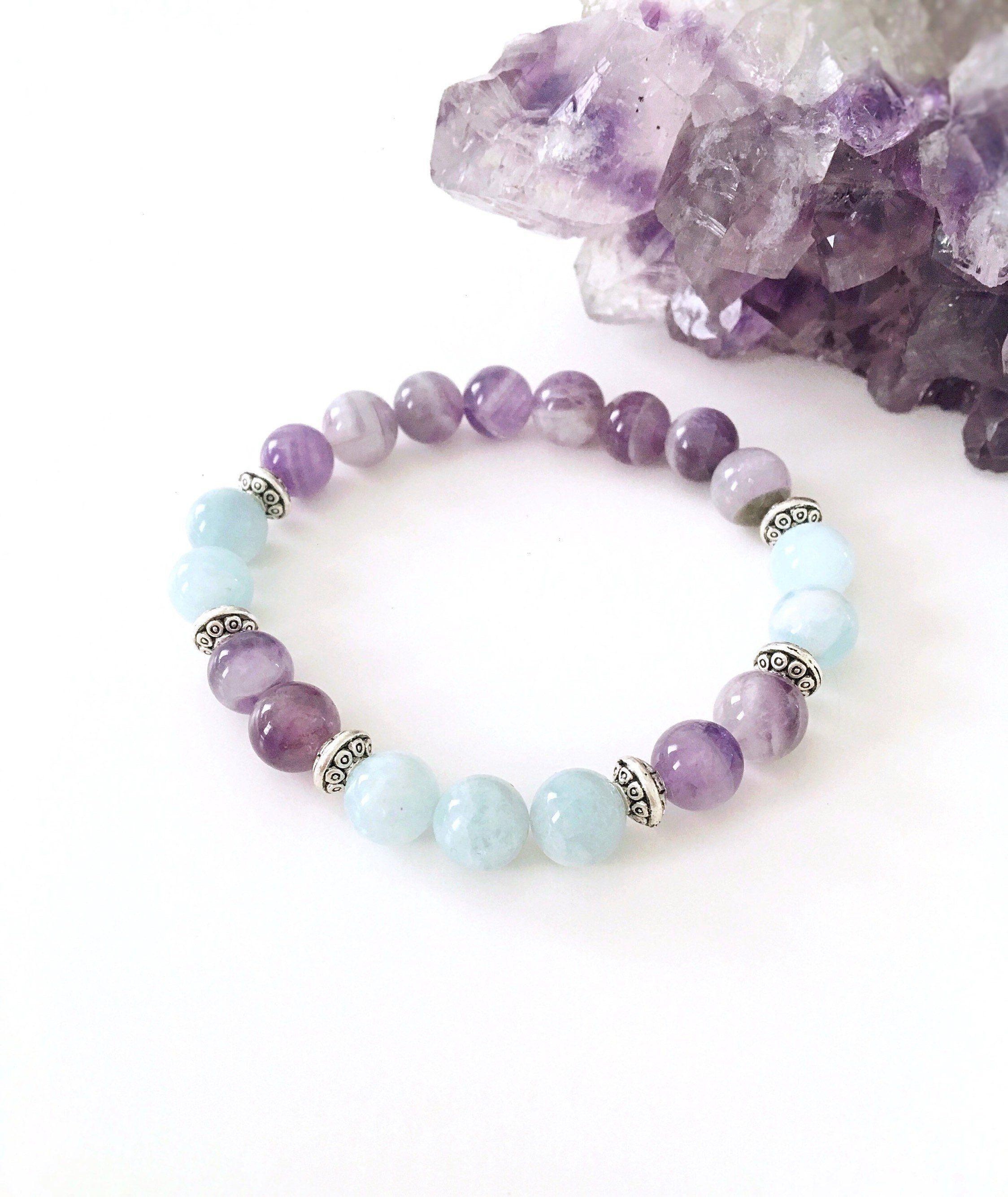 Amethyst Bracelet, Aquamarine Bracelet, Aquamarine And Amethyst Crystal Bracelet, Gemstone Bracelet, Healing Gemstones #gemstonejewelry
