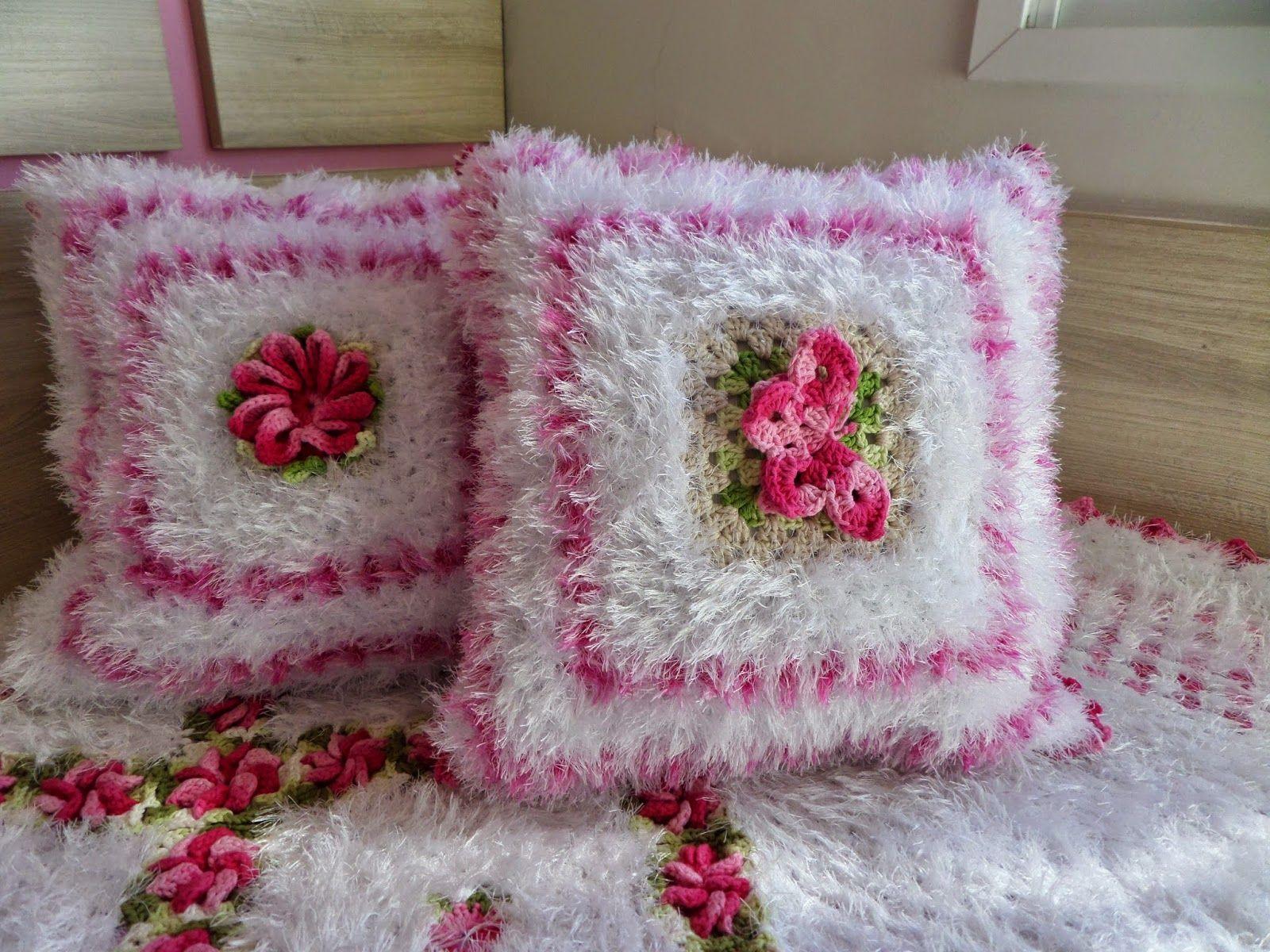 Almofadas croche barbante barroco
