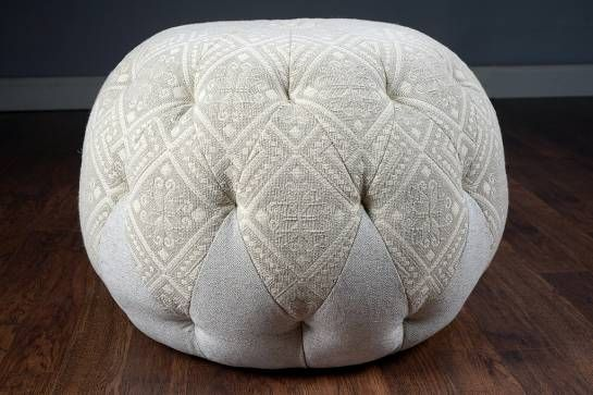 Peachy Beige Round Tufted Pouf Ottoman Mecox Gardens Poufs Machost Co Dining Chair Design Ideas Machostcouk