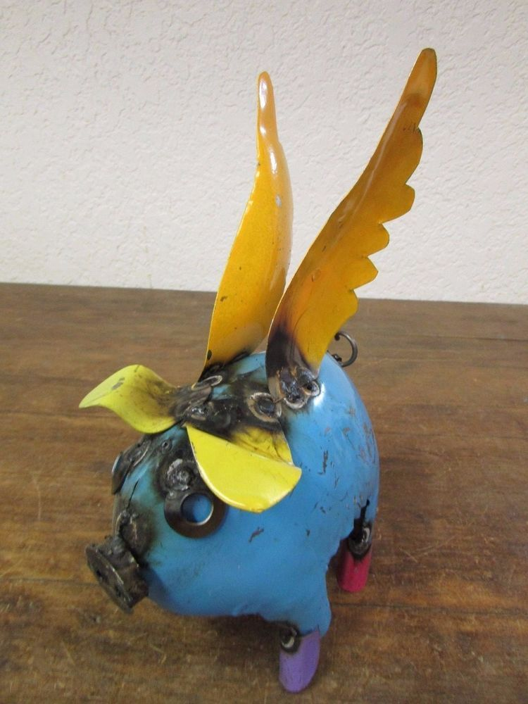 Recycled Metal Flying Pig Mini 3 Mexican Folk Art Colorful