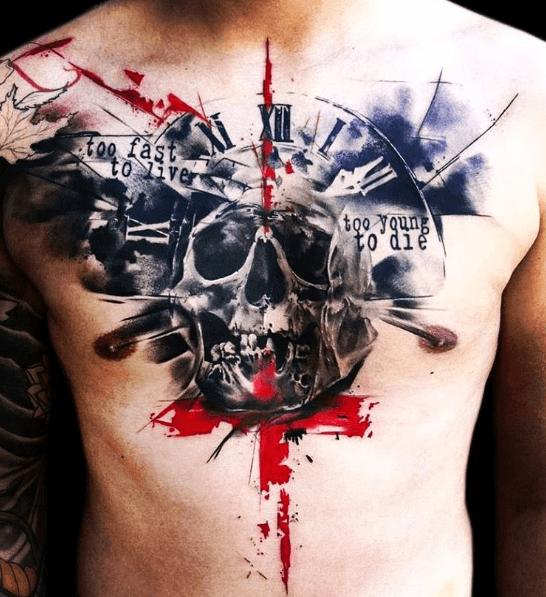 Tatouage Trash Polka Crane Torse Homme Tatoo Tattoos Trash