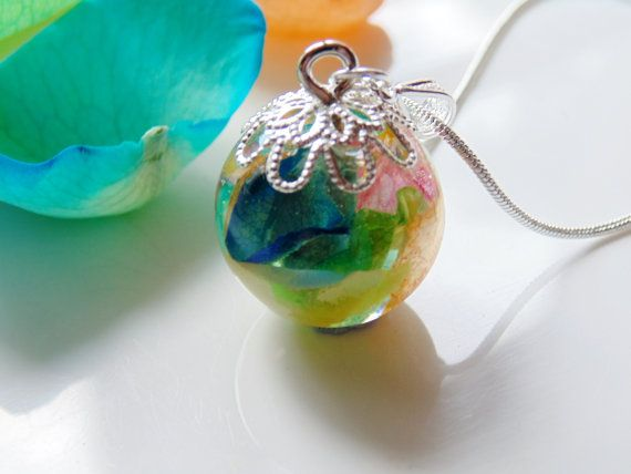 Rainbow rose petal necklace resin flower globe by wishesonthewind rainbow rose petal necklace resin flower globe pendant eco friendly real flower pendant by wishes on the wind mozeypictures Gallery