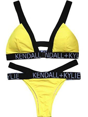 08ac6e89ad91f Women Bikini Yellow Swimwear Letters Print Trendy Style Swim Suits Beach  Bathing Make a splash at the beach, pool or the lake with a hot sexy  swimsuit.