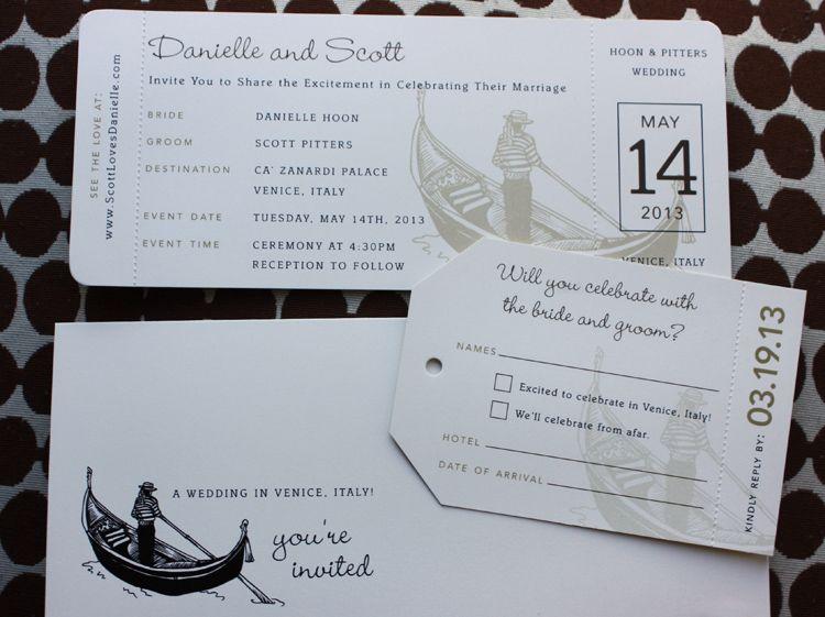 Brown Tan Gondola Italy Themed Airline Ticket Wedding Invitations