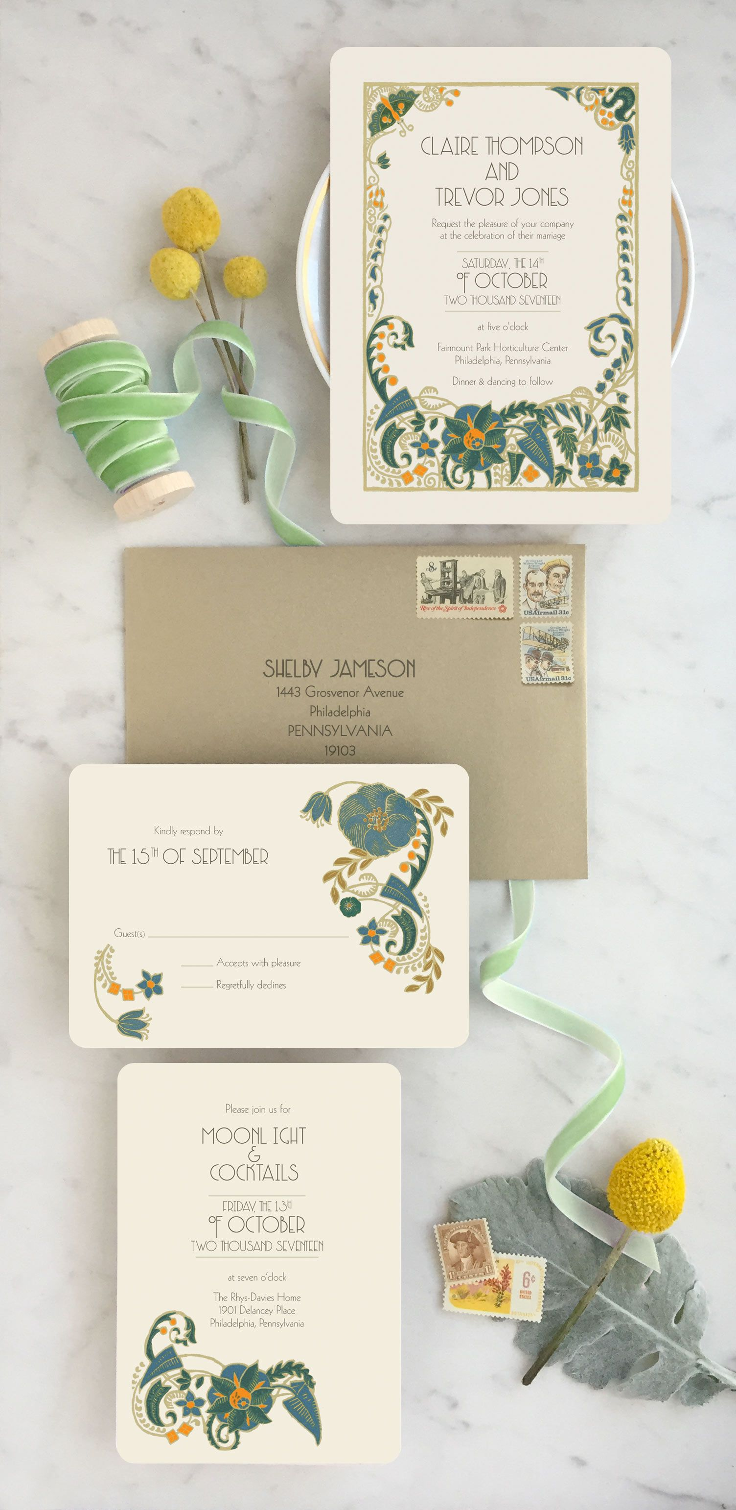 Art Deco Wedding Invitations Announce your day with drama and color ...